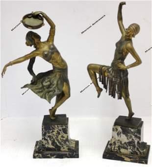 2 AUSTRIAN ART DECO BRONZE DANCERS ON MARBLE