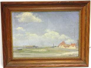 FRAMED OIL PAINTING ON CANVAS UNDER GLASS,