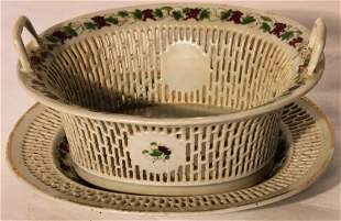 CIRCA 1800 CHINESE EXPORT OPEN WORK BASKET AND