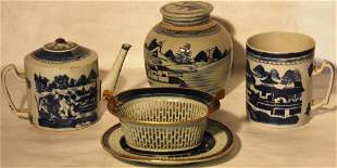4 PIECES OF 19TH CENTURY CANTON PORCELAIN TO