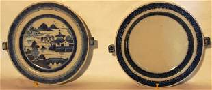 """2 19TH CENTURY CANTON WARMING DISHES, 9 1/2"""""""