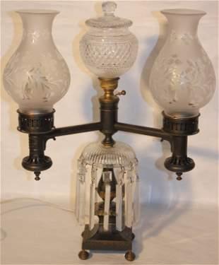19TH C BRONZE ARGAND LAMP BY JOHNSTON BROOKS & CO
