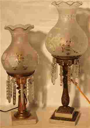 2 19TH CENTURY GILT BRASS AND MARBLE ASTRAL LAMPS