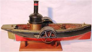 19TH C PADDLEWHEEL STEAMBOAT, POSSIBLY PATENT