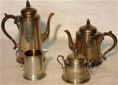 4 PIECE STERLING SILVER TEA SET BY REED  BARTON