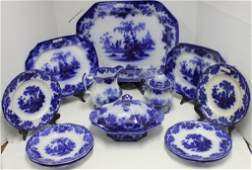 12 PIECES OF FLOW BLUE SCINDE PATTERN TO INCLUDE