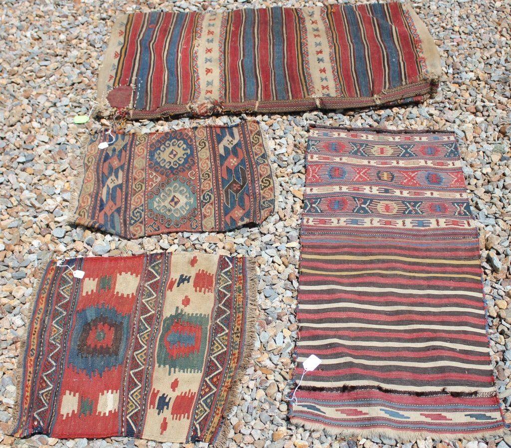 LOT OF 4 PERSIAN SADDLEBAGS AND BAG FACES, CIRCA