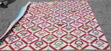HAND SEWN 19TH C FRIENDSHIP QUILT WITH BASKET