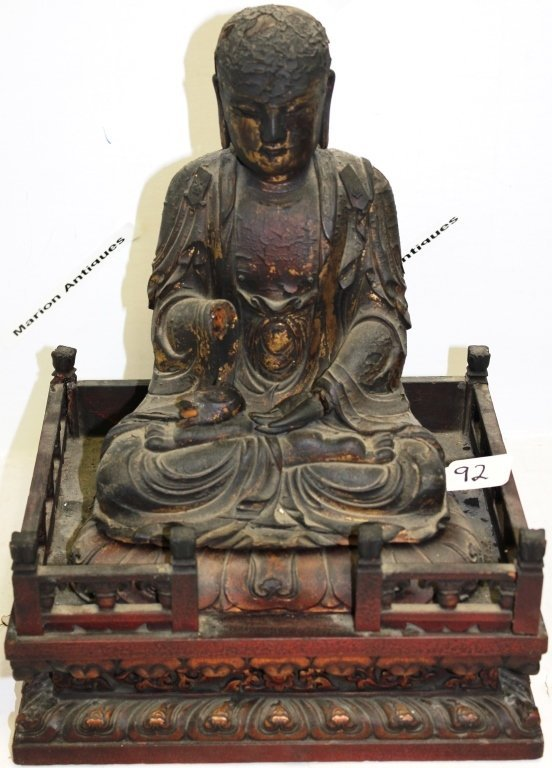 CARVED ASIAN BUDDHA, JAPANESE 18TH C, PAINTED