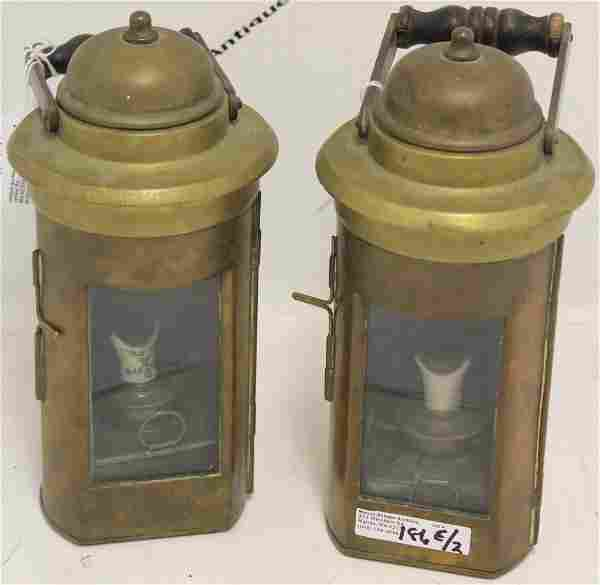 PAIR OF EARLY 20TH C BRASS SHIP'S LANTERNS WITH