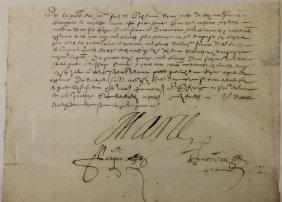 SIGNED HAND WRITTEN LETTER, MARIE DE MEDICI,