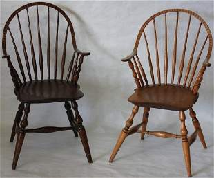 PAIR OF 18TH C CONTINUOUS ARM WINDSOR CHAIRS