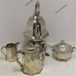 4 PC AMERICAN COIN SILVER TEA AND COFFEE SERVICE.