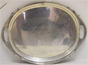 LARGE STERLING SILVER PRESENTATION TRAY BY