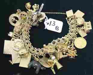 """14KT GOLD CHARM BRACELET, 5/8"""" WIDE, 7"""" LONG,"""