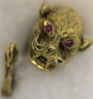 14KT GOLD RING WITH CAT HEAD, 6.2 DWT, SIZE