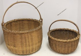 Two 19th C Splint Woven Baskets. 1 Has Fixed