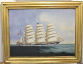Oil Painting On Canvas Depicting The Ship Latham,