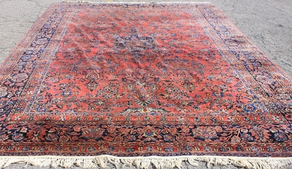 CA 1920 ROOM SIZE PERSIAN SAROUK RUG, RED FIELD