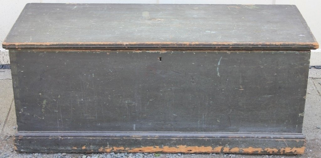 EARLY 19TH C AMERICAN SEA CHEST, OLD GREEN OVER