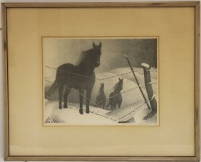 February By Grant Wood (1892-1942) Lithograph,