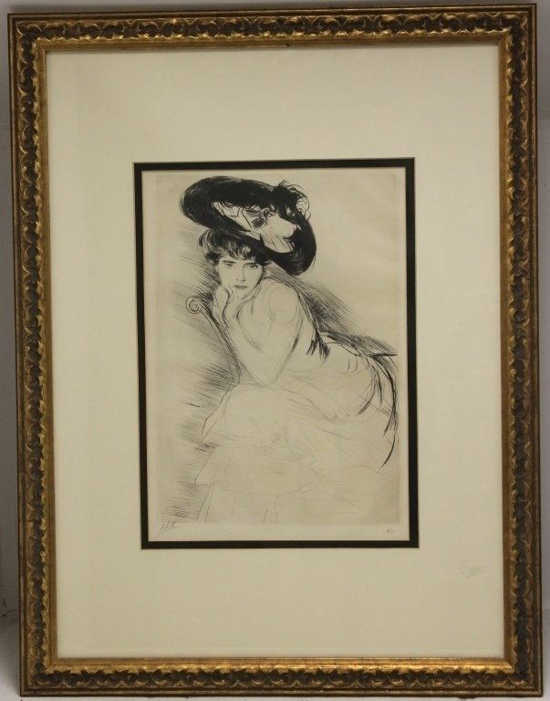 DRYPOINT ETCHING, HOLLEN, CA 1900, SIGNED IN