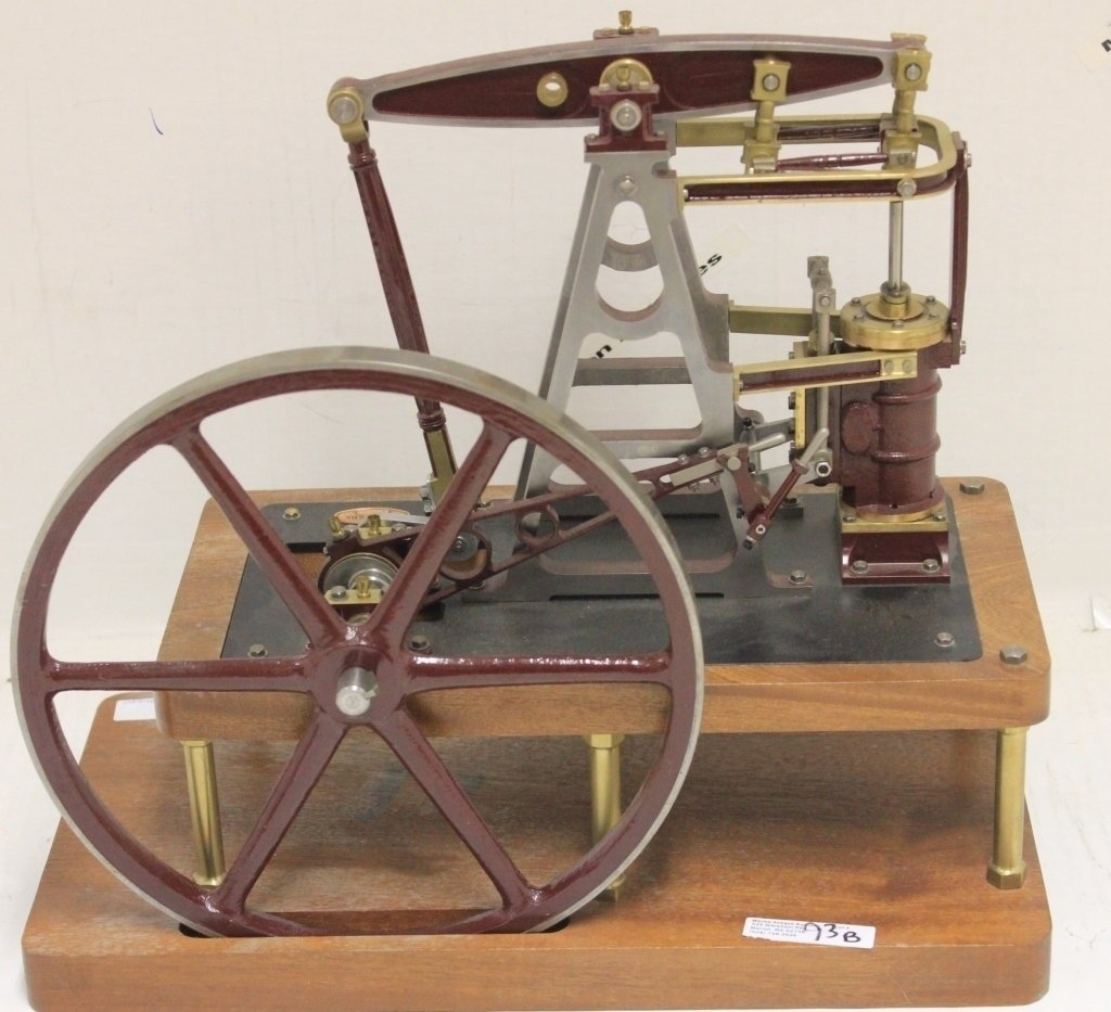 CONTEMPORARY BRASS AND IRON STEAM ENGINE, MARKED