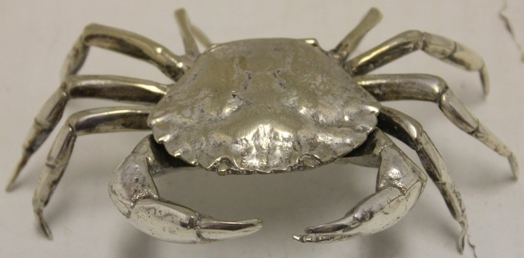 "ITALIAN STERLING SILVER CRAB, CA 1960, 3"" HIGH,"