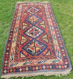 Early 20th C Caucasian Scatter Rug, Red, Blue,