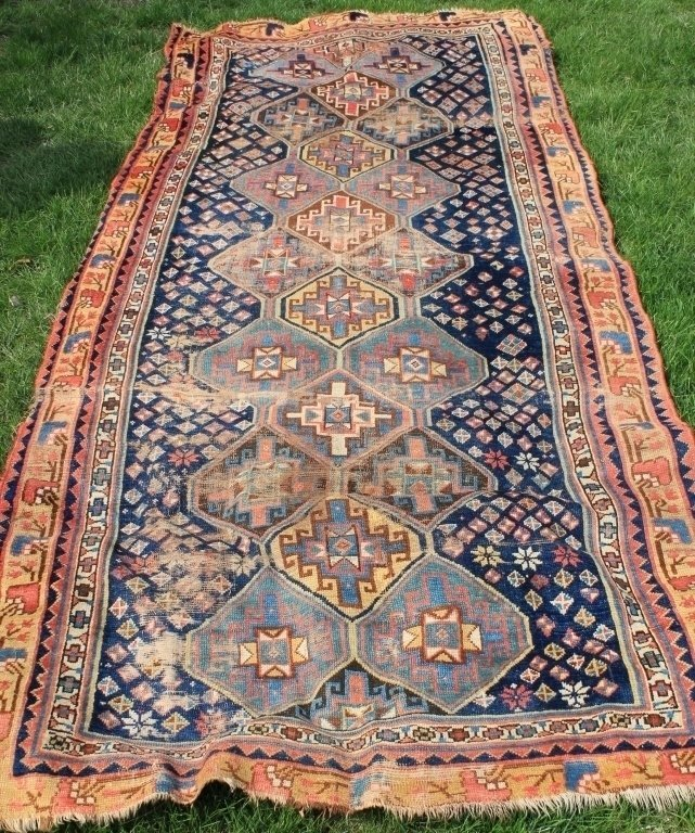LATE 19TH C CAUCASIAN SCATTER RUG, BLUE FIELD