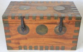 Early 19th C Brass Bound Chinese Camphor Wood