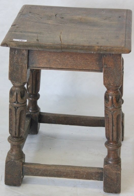 17TH C ENGLISH OAK JOINT STOOL, STRETCHER BASE,