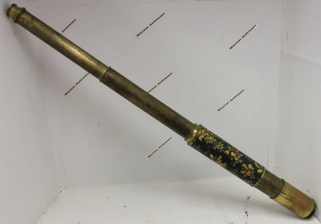 19TH C 2 DRAW BRASS TELESCOPE BY LEKEUX, LONDON