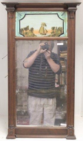 19th C Mahogany Split Column Mirror With Reverse