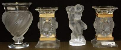 4 PCS OF LALIQUE GLASS INCLUDING PR OF PARQUETTE