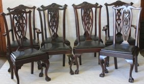 Set Of 8 Carved Mahogany Chippendale Style Dining