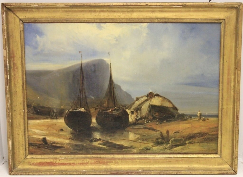19TH C OIL PAINTING ON CANVAS, COASTAL SCENE WITH