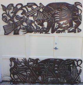2 Similar Sheet Iron Sculptures By J. N. Pierre