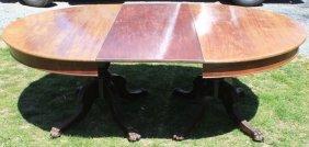 19th C Mahogany Banquet Table, Double Pedestal,