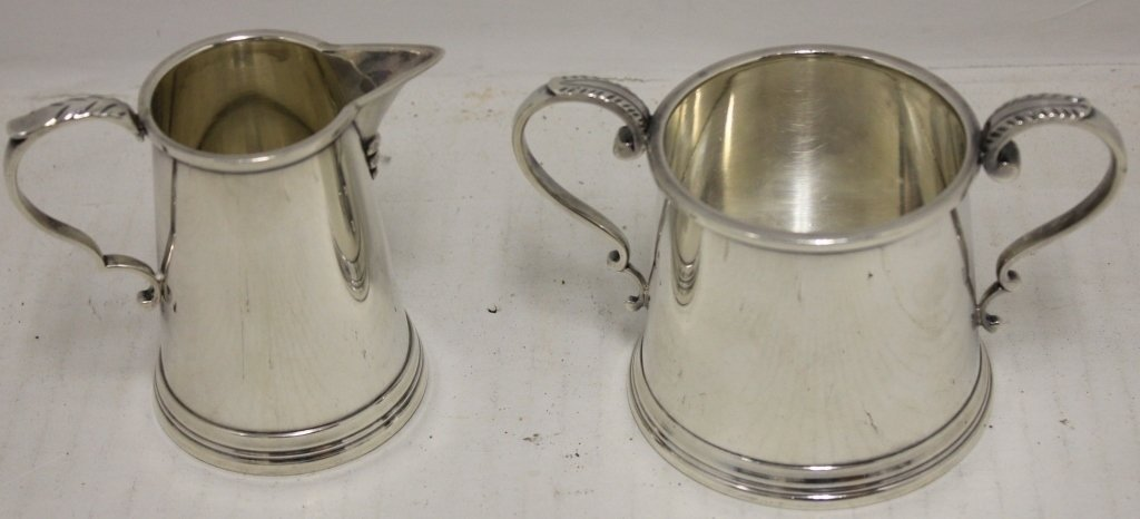 STERLING SILVER CREAMER AND SUGAR BOWL, 3 1/4""