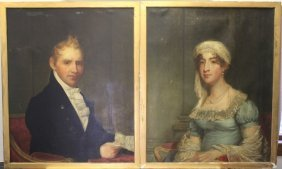 Pair Of Late 19th C Portraits, Oil Paintings On