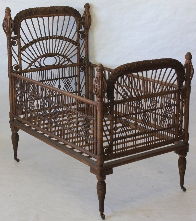 LATE 19TH C AMERICAN WICKER CHILD'S BED, HEYWOOD