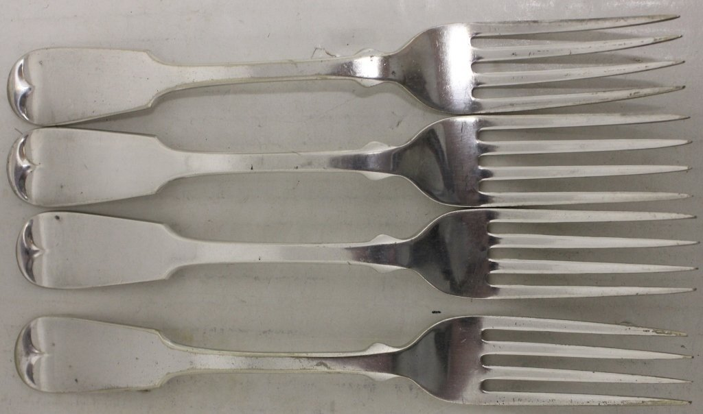 4 EARLY 19TH C COIN SILVER FORKS BY HALL & ELTON,