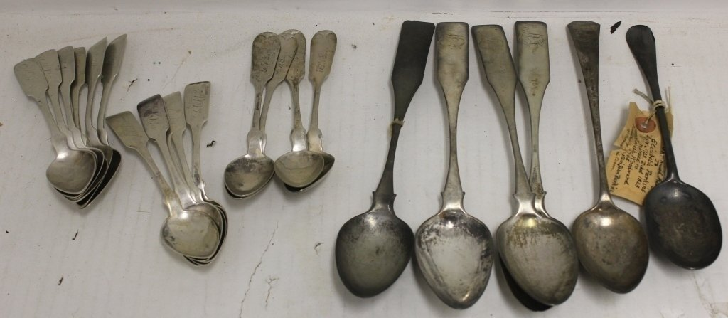 21 COIN SILVER SPOONS TO INCLUDE 6 TEASPOONS