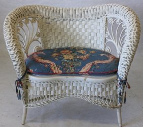 Rare American Wicker Kidney Shaped Loveseat,