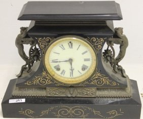 Ornate Victorian Iron Mantel Clock With Winged