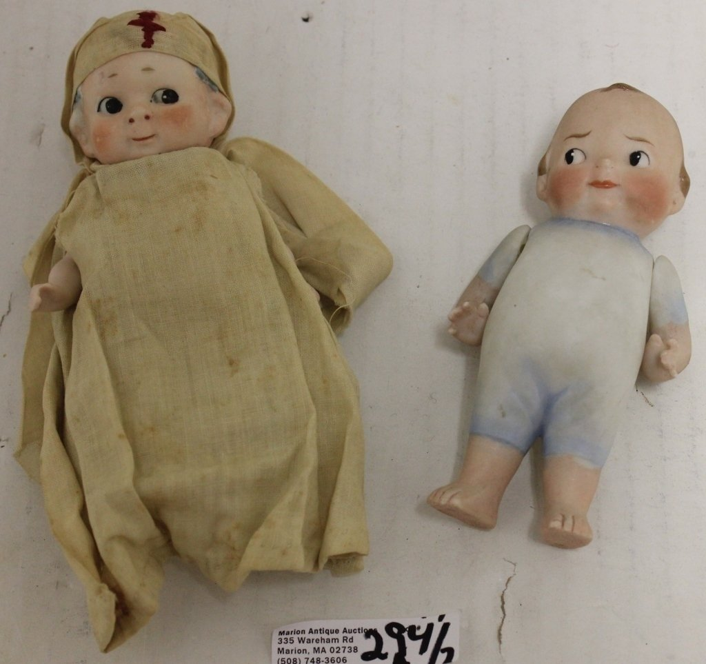2 LATE 19TH C GERMAN PORCELAIN BISQUE DOLLS,