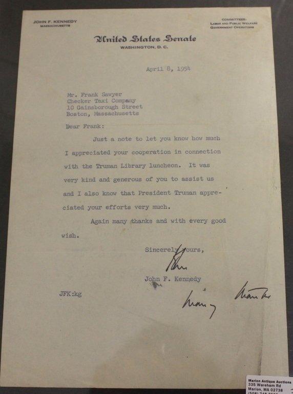 JOHN F. KENNEDY TYPEWRITTEN SIGNED LETTER, DATED