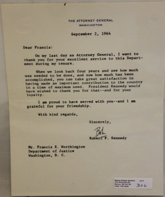 ROBERT F. KENNEDY TYPEWRITTEN  SIGNED LETTER,