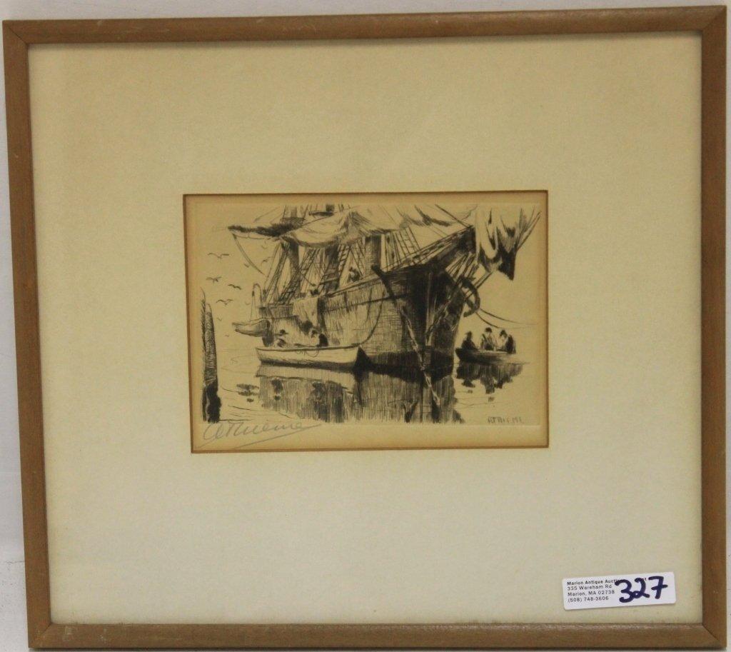 ETCHING, ANTHONY THIEME (1888-1954), WHALESHIP